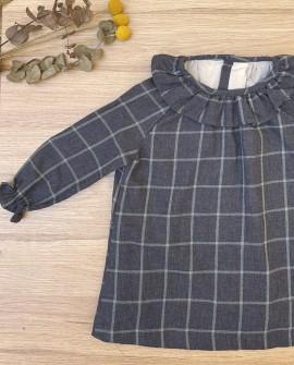Vestido Infantil Cuadros coton blue